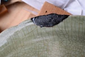 Ming period celadon plate, kintsugi repair