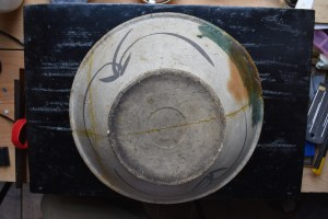 Kintsugi, Oribe suribachi before disassembly.