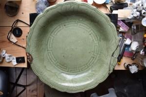 Kintsugi, Ming period celadon 45 cm plate