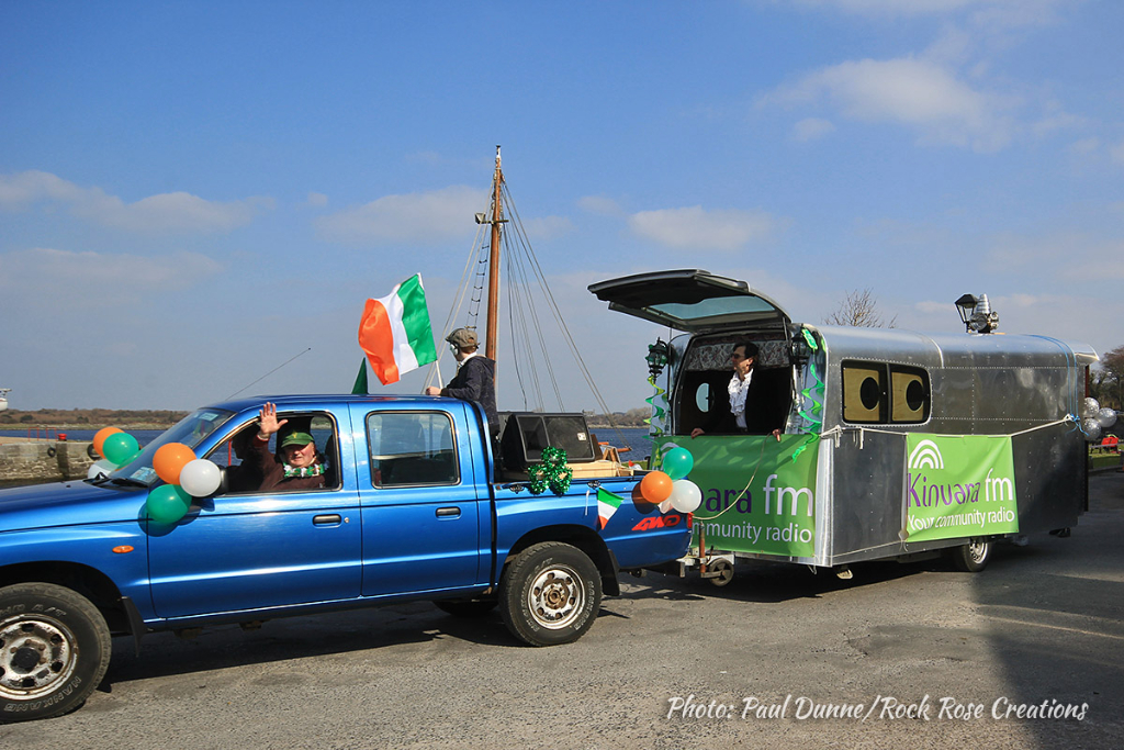 The Kinvara FM float at the Kinvara St. Patrick's Day Parade