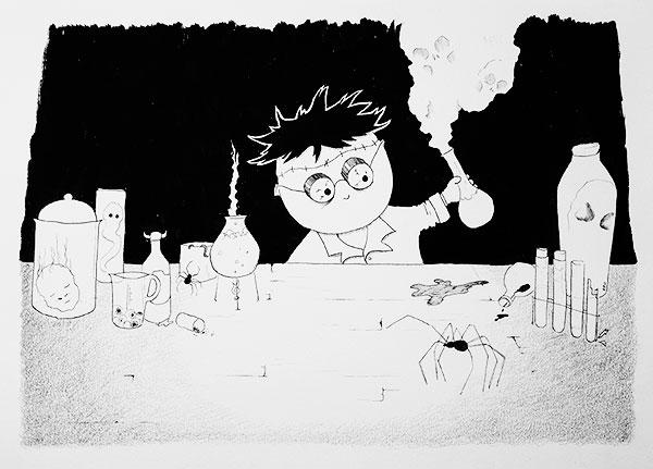 Mad scientist illustration by Kira Bang-Olsson