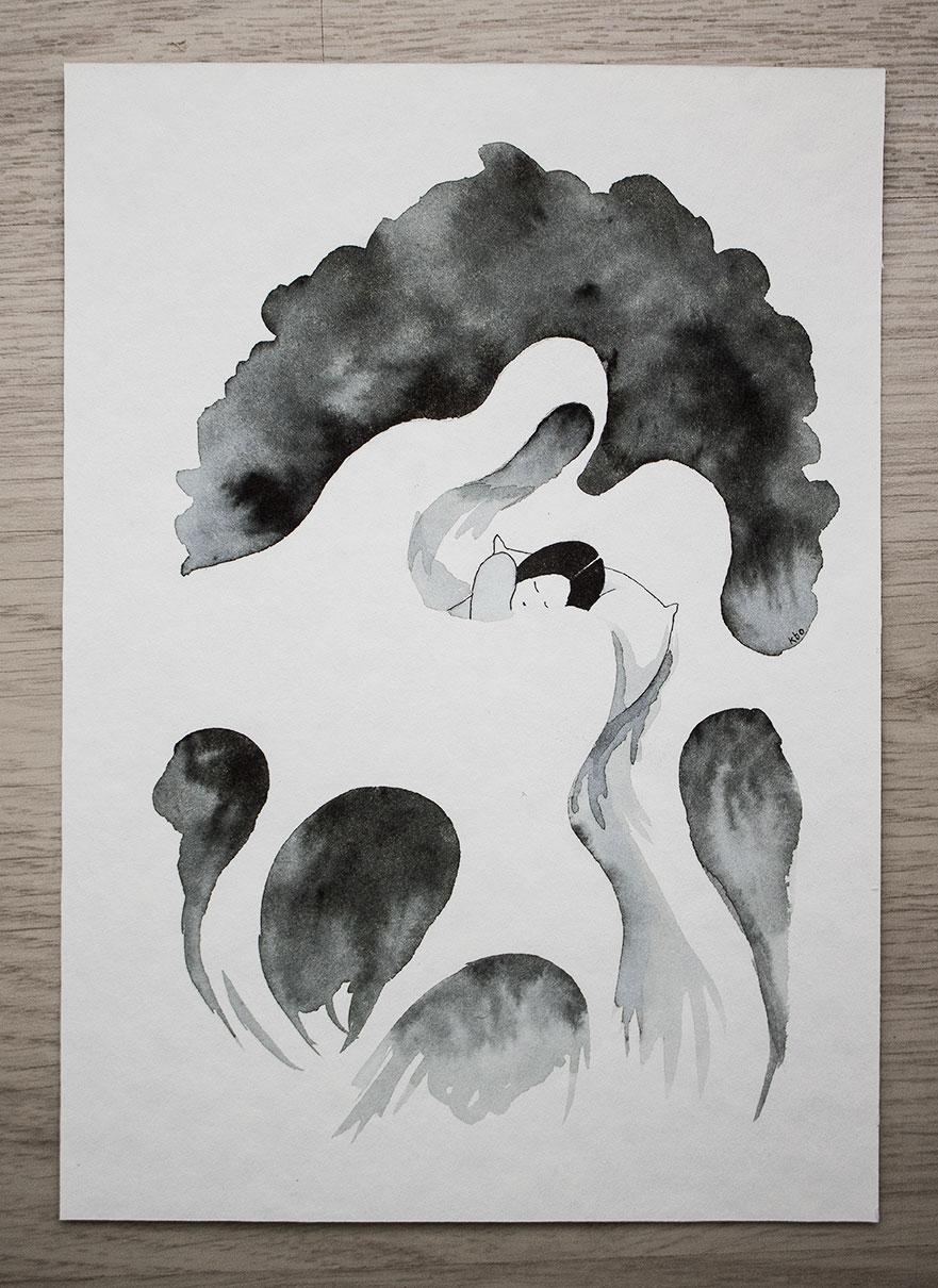 Mareridt - Illustration af Kira Bang-Olsson