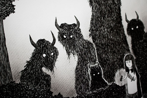 Dark monsters - detail of illustration by Kira Bang-Olsson