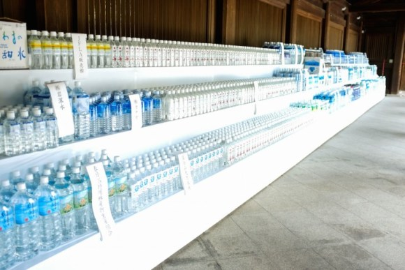 Water bottles in Meiji Jingu