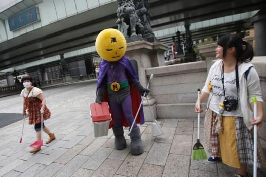 Street Cleaner Superhero in Japan