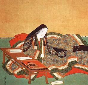 La cortesana Murasaki escribiendo la novela Genji Monogatari, en la que se tiene constancia por primera vez del uso de yamato-damashi
