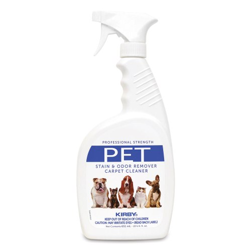 Kirby Pet Stain Remove cleans carpet after pet accidents including dog pee, cat pee, poop, vomit and drool.