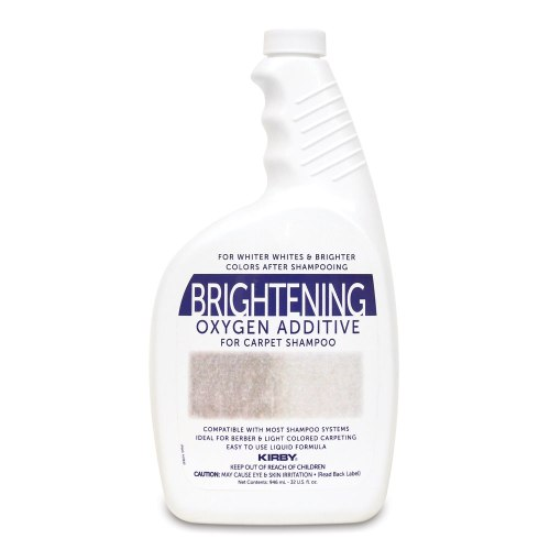 Hydrogen peroxide carpet additive brightens carpet during shampooing.