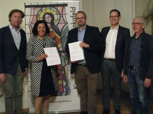 Bgm. Mag. Kurt Maczek, KR Andrea Gottweis, Orgelbaumeister Dirk Eule, Mag. Stefan Kramer, Mag. Alfred Lukschander (vlnr.)