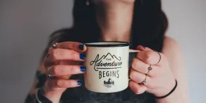 sucess in exam results - now the adventure begins, woman with mug