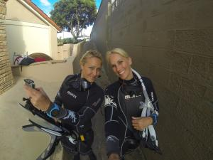 Margo Sanchez and Stephanie Adamson  of the Scuba Diver girls