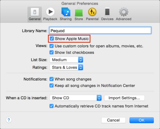 Apple music prefs