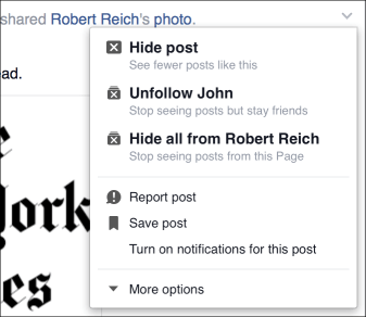 Hide facebook post
