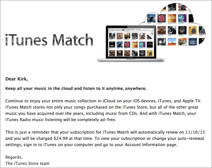 Itunes match renewal
