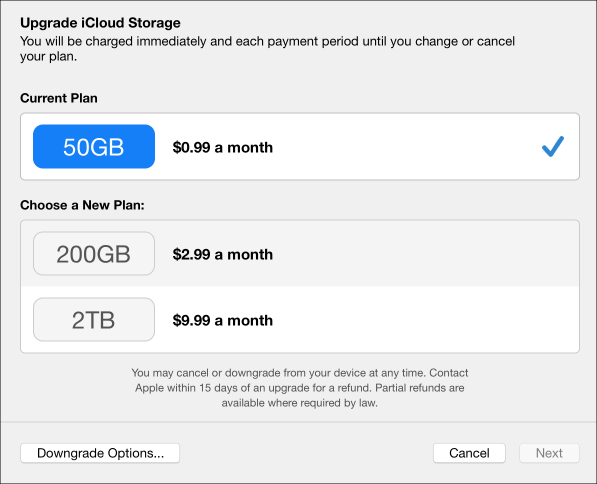 Lower icloud storage price