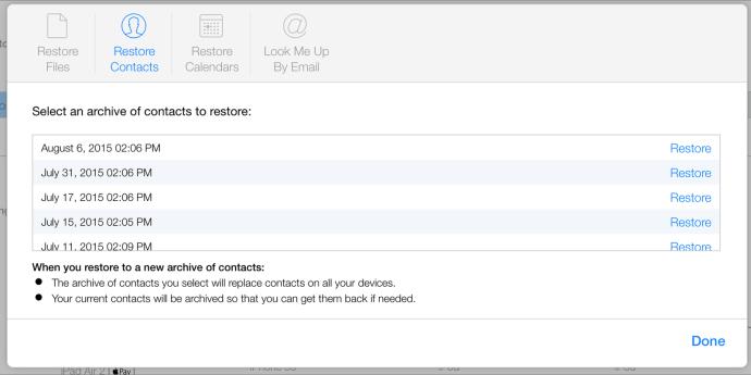 Restore contacts icloud