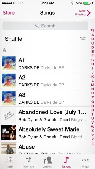 Shuffle songs