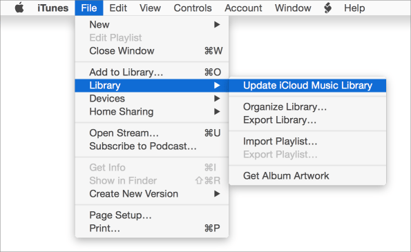 Update icloud music library