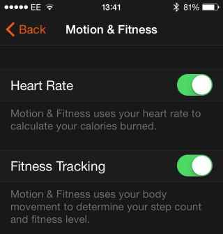 Watch motion fitness settings