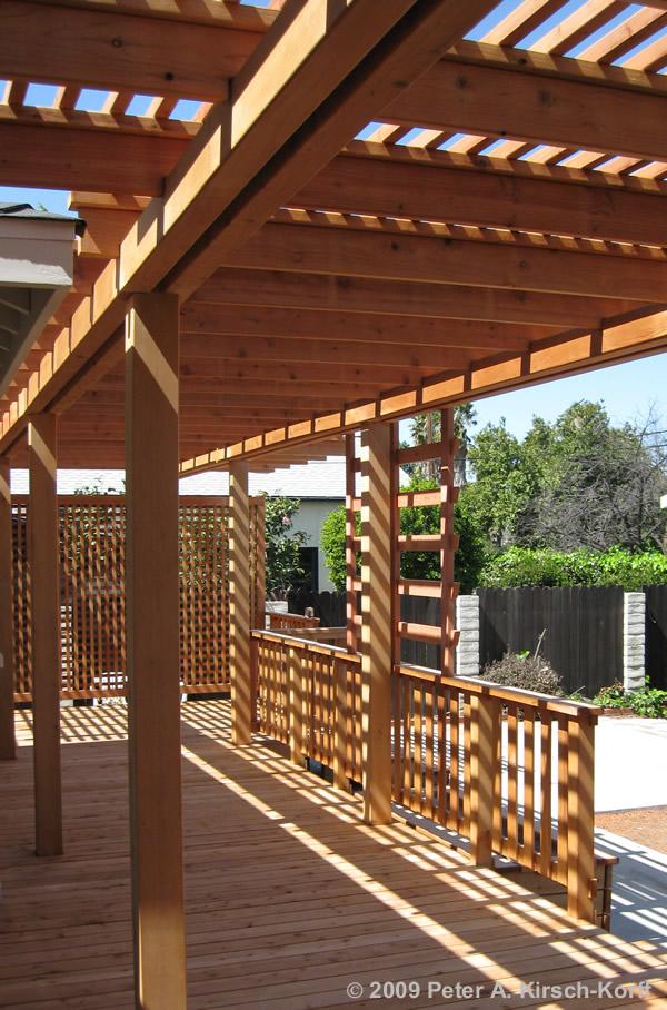 Redwood Deck Over Concrete Patio With Arbor Encino