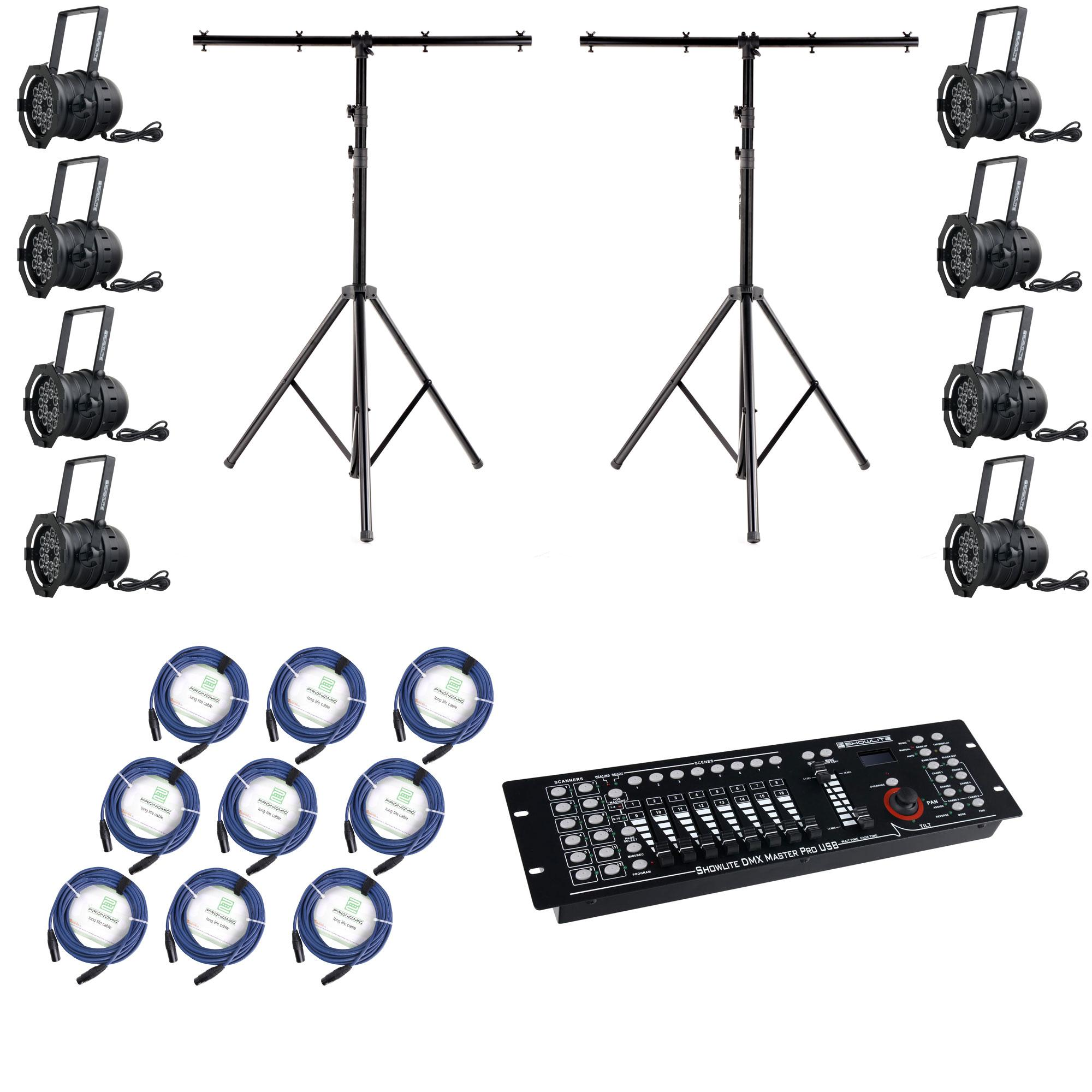 Showlite Par 64 18x8w Led Rgba Xt 25 Pro Set 8x Spotlights 2x Stativ Controller Usb Cable