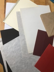 different coloured paper or card