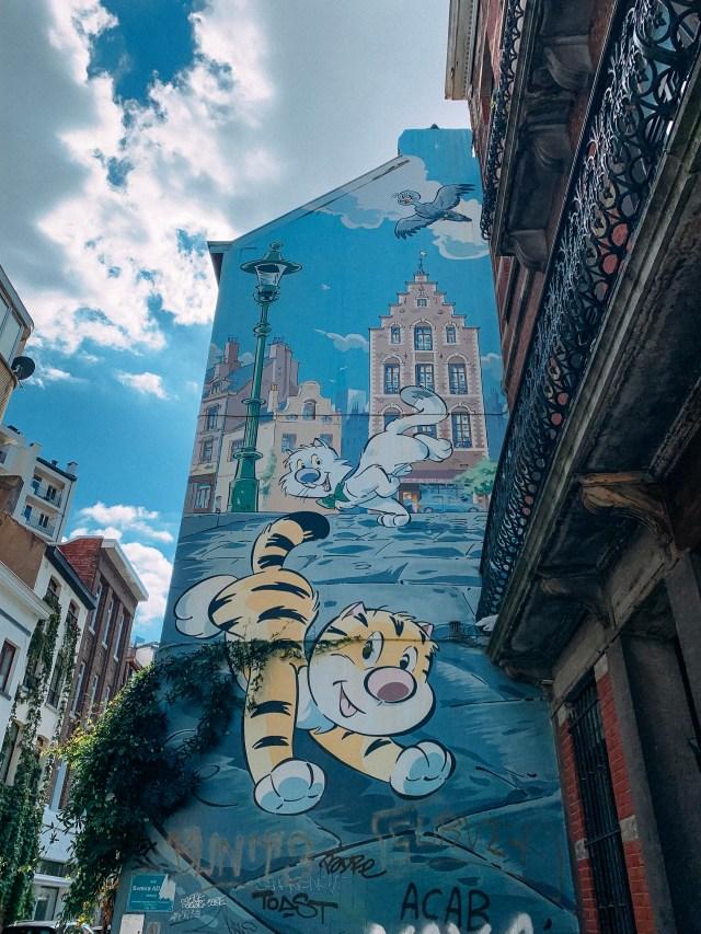 Billy the cat comic book mural in Brussels, Belgium.