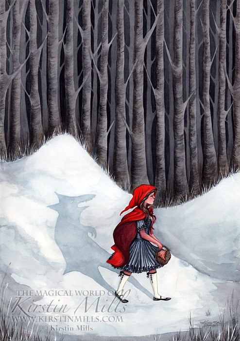 The Wolf Within, Little Red Riding Hood Fairy Tale Art by Kirstin Mills, Fairy Tales, Fairies and Fantasy Art and Illustration