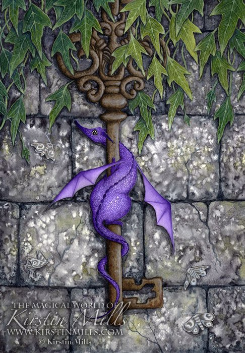 The Key Dragon Art by Kirstin Mills, Fairy Tales, Fairies and Fantasy Art and Illustration