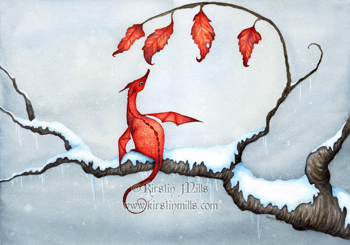 Autumn's Promise Dragon Art by Kirstin Mills, Fairy Tales, Fairies and Fantasy Art and Illustration