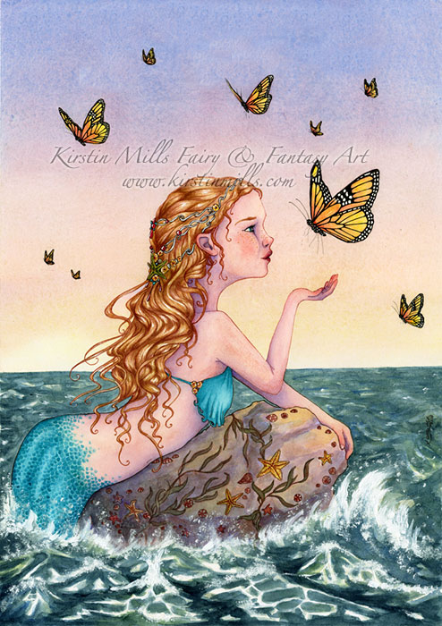Bring Me Tidings Mermaid Art by Kirstin Mills, Fairy Tales, Fairies and Fantasy Art and Illustration
