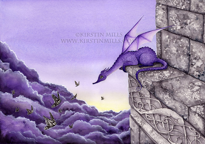Dizzy Heights Dragon Art by Kirstin Mills, Fairy Tales, Fairies and Fantasy Art and Illustration