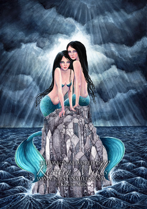 Sirens Mermaid Art by Kirstin Mills, Fairy Tales, Fairies and Fantasy Art and Illustration