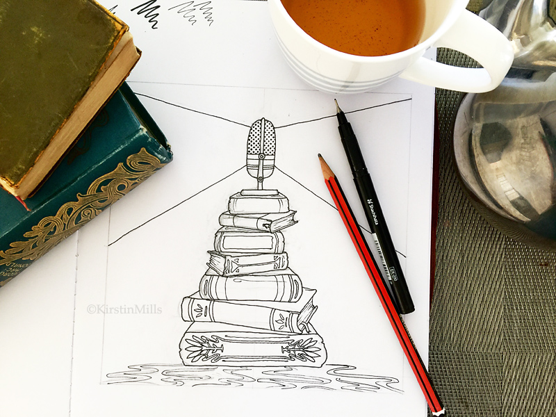 Pen and Ink Illustration for Podcast Logo Design, Macquarie University, From the Lighthouse, English Literature Podcast, artwork, sketch