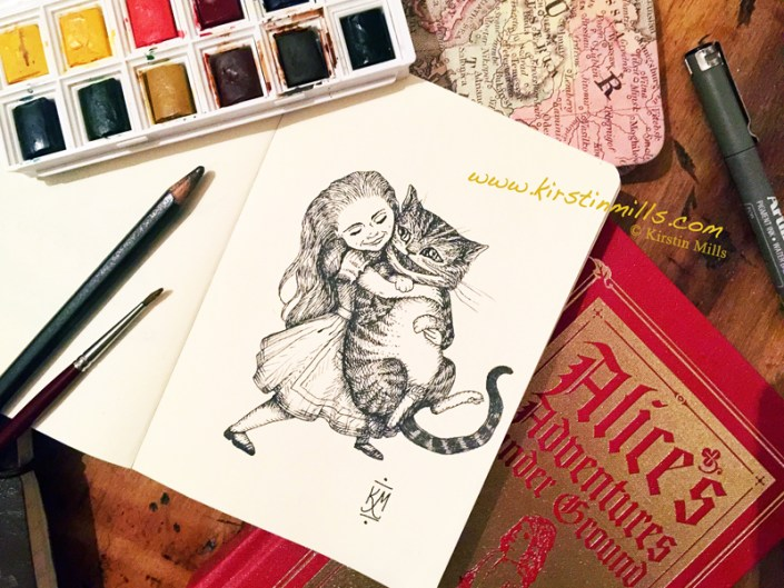 alice and the cheshire cat, alice in wonderland, alice, cheshire cat, cat, kirstin mills, kirstin, art, illustration, drawing, sketch, pen and ink, books, fantasy, fairytale, fairy tale, cats