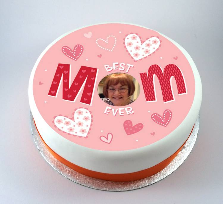 Mothers Day Best Mom Ever Photo Cake Kiss Cakes