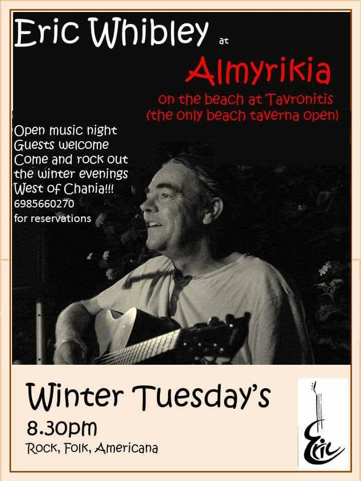Tuesday's music nights in Tavronitis with Eric Whibley – every Tuesday at 20.30