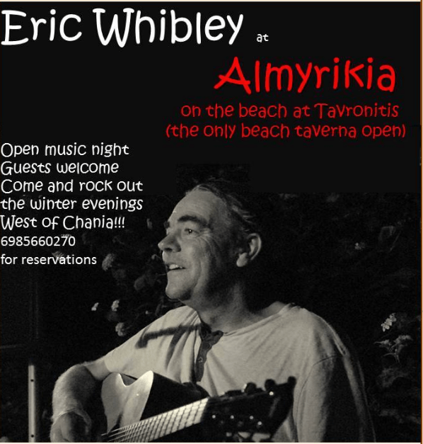 "Live music: ""That was Easter – rock on the summer"", Eric Whibley in Tavronitis 10th April  and every Tuesday"