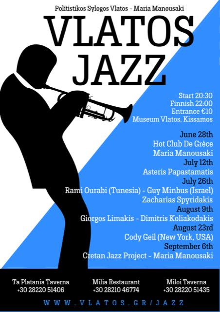 Live music: Jazz evening in Vlatos 28th June