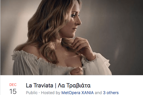 """The Met: Live in HD"" – La Traviata (taped) – Chania 15th December"