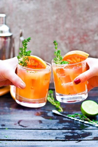 grapefruit-thyme-bourbon-smash-cocktail, bourbon coctails