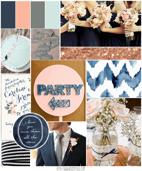 Wedding Candy: Rustic Blush Pink and Navy Blue Wedding Inspiration