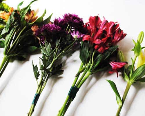 How to Make an Ugly Supermarket Arrangement into a Lovely Wedding Bouquet Step Two