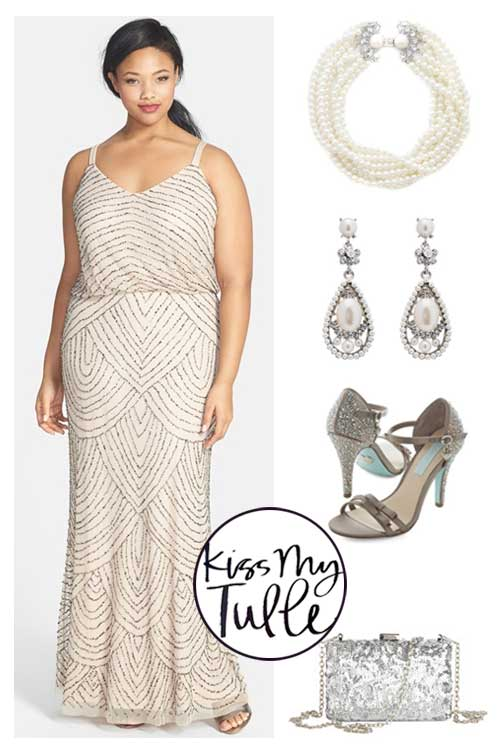 Styling the Adrianna Papell Blouson Gown in Pearls and Rhinestones