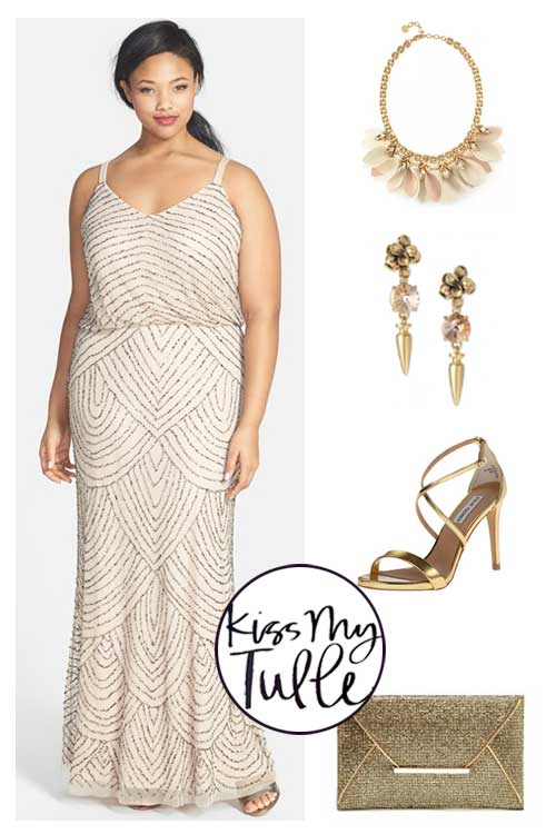 Styling the Adrianna Papell Blouson Gown Gold and Sequins