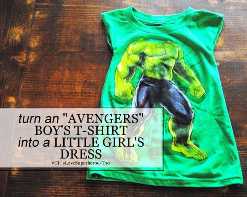 """DIY: Turn an """"Avengers"""" Boy's T-Shirt into a Little Girl's Dress"""