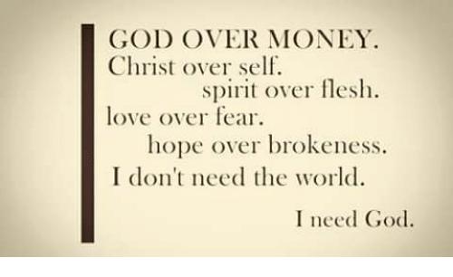god love over money