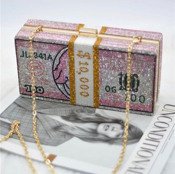 diamond clutch pink money bag
