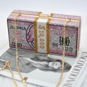 diamond clutch pink money bag