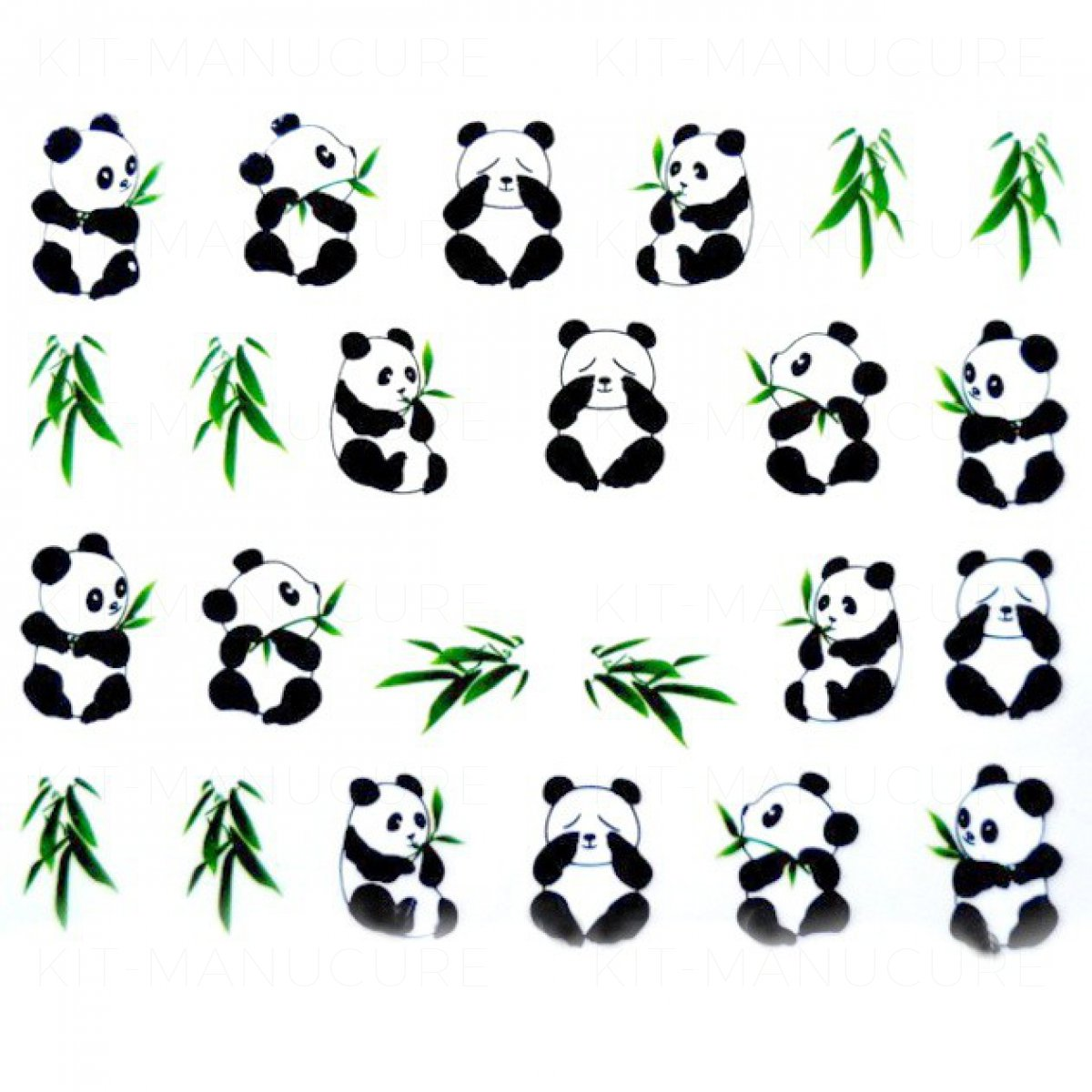 Water Decals Panda Noir Et Blanc Et Bambou